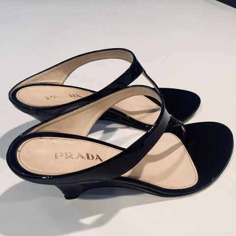d2810b78253b  orchidbabe. 7 months ago. United States. Black Patent Leather Vintage Prada  Covered Heel Sandal