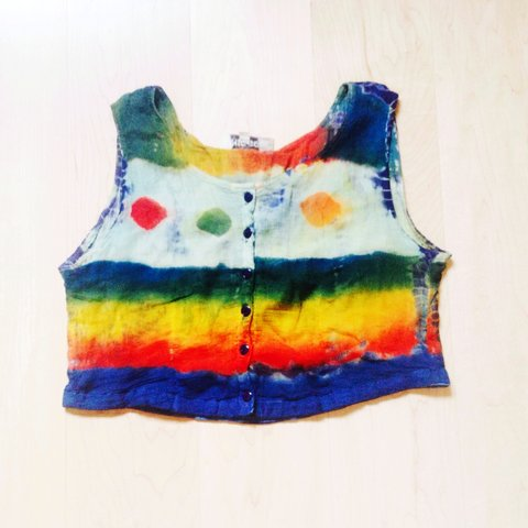 fe9cc13cd Peekaboo primary colour tie dye crop top. One of a kind, and - Depop
