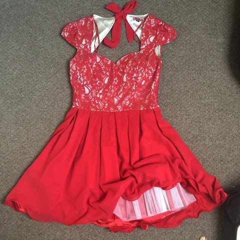 f2dc510493e Chi Chi London red dress Size 16 Elasticated back