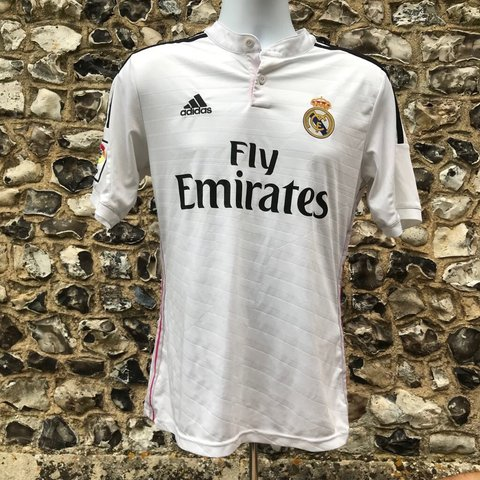 edaec2aa8 Vintage Real Madrid 2014-15 Home Shirt 🔥 • Size S • 8 10 - Depop