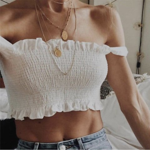 6722432a0cc White boob tube vest bow tie crop top ✨ Sizes available at a - Depop