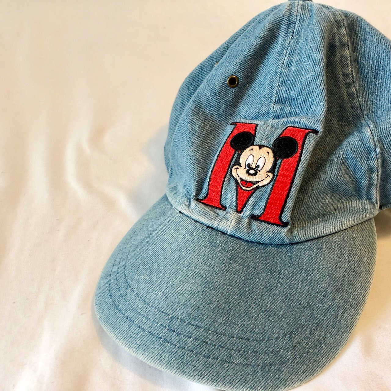 Cute vintage 90s denim Mickey Mouse adjustable hat in great - Depop 5abaa9f5d65