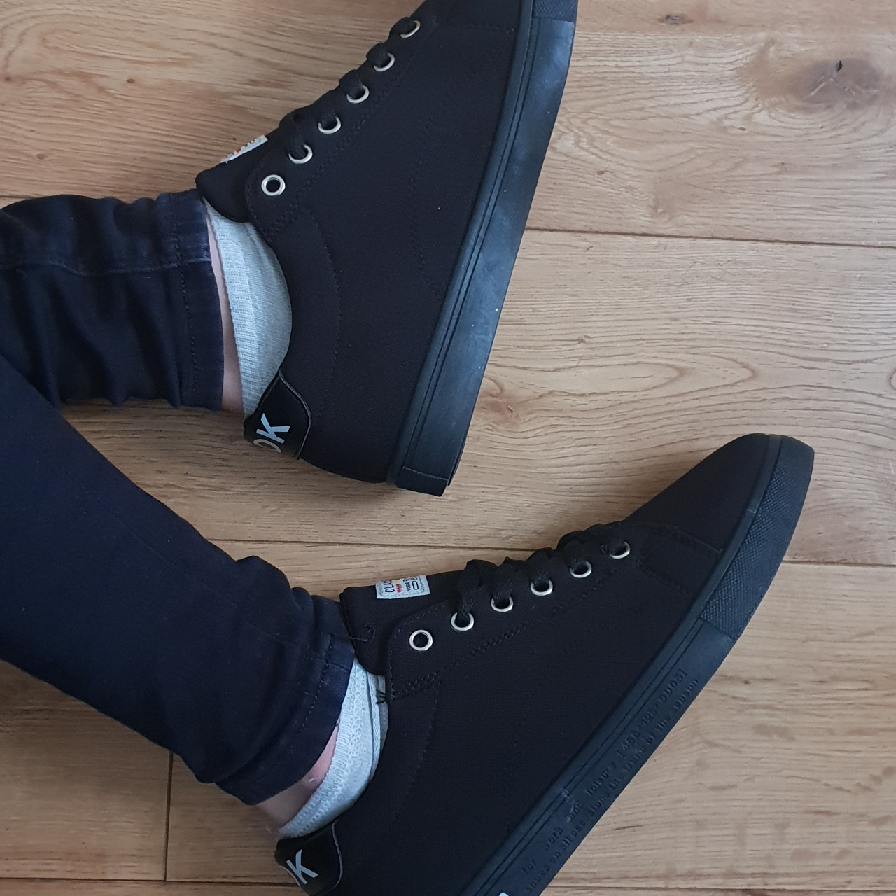 Black canvas shoes from obbvy. Paid £20