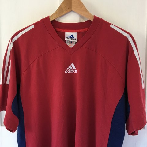 999729aa02bd8 @ontherocksvintage. last year. Manchester, United Kingdom. Adidas Retro 3  Striped Red/White/Blue T-Shirt