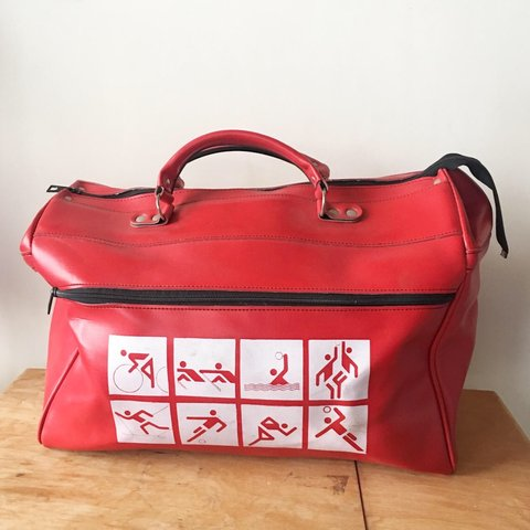 810d54e790ee Rare 90s sport bag Red with graphics of stick figures doing - Depop