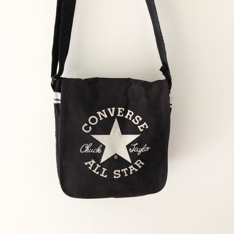 90s Converse All Star messenger bag Black with white logo on - Depop 5c090a5972702