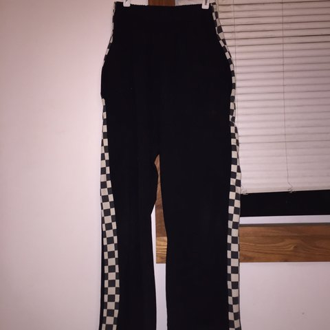 abba40f0a7 really cute sweatpants with checkered sides. these used to a - Depop