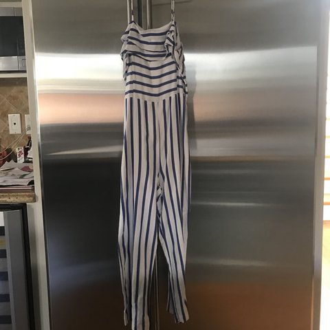 3f94345eef7 Zara Blue and white striped jumpsuit Great condition  zara - Depop