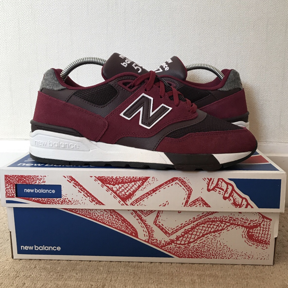 the best attitude c5b1a ee427 New Balance 597 in burgundy. UK size 7. Excellent... - Depop