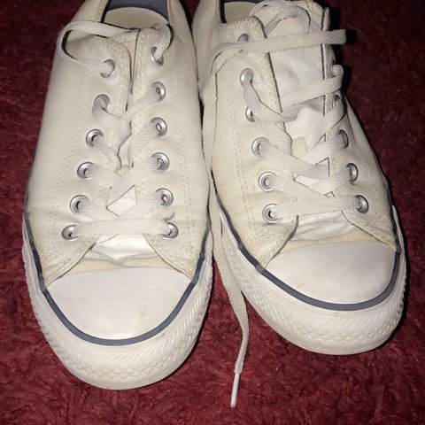 65b6709f3353 white converse w  red and blue stripe - good condition - (a - Depop