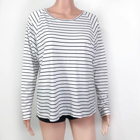 d1b162cc9 @poshneighbor. 9 months ago. Durham, United States. Madewell Women's Black  & White Striped Long Sleeves Top Size ...