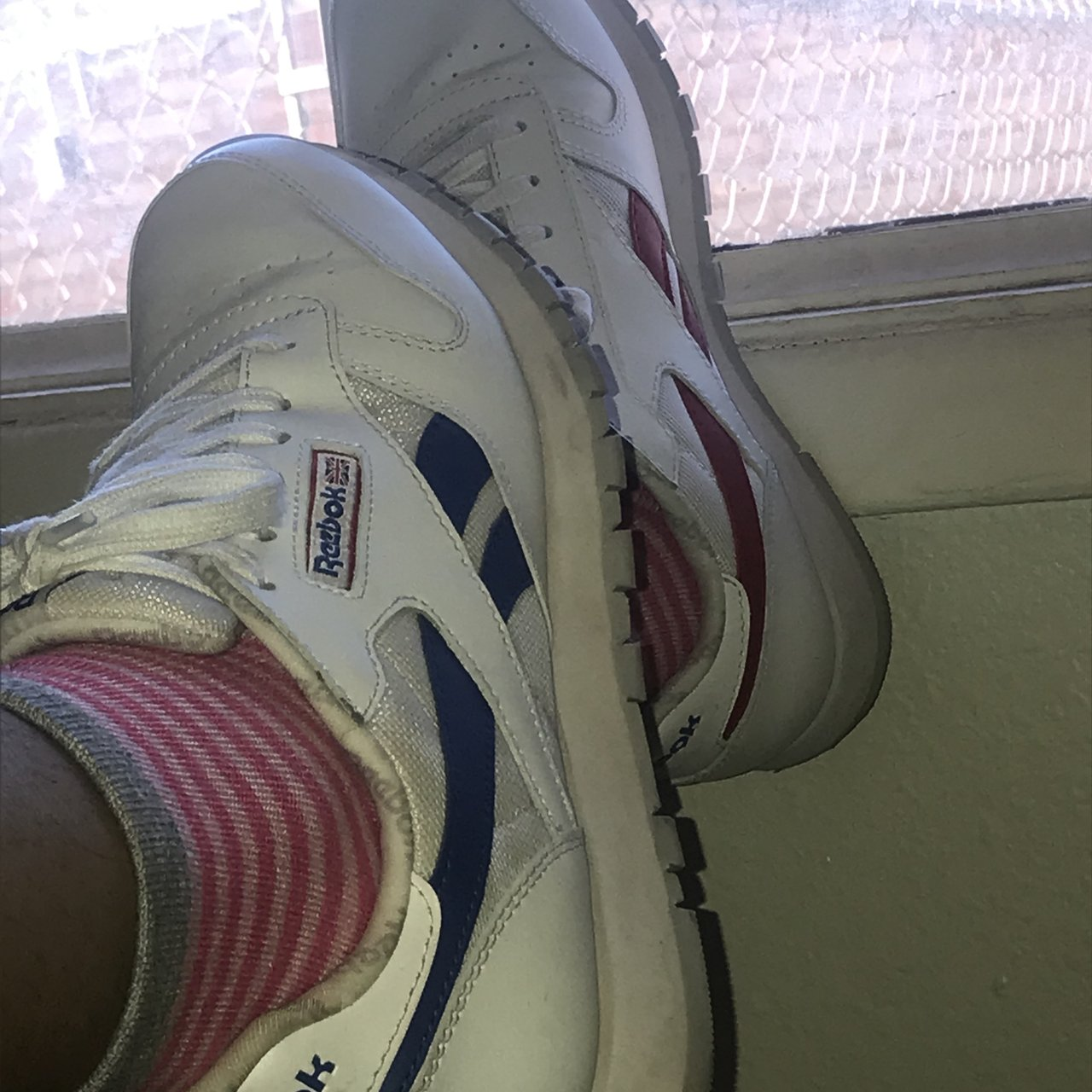 8a55d385f5aa Red white and blue vintage 90s Reebok classics