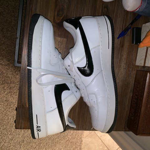 02a3adf594247 2010 black and white Air Force ones has some loose threads a - Depop
