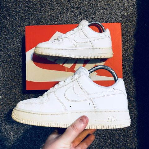 32cfe96b22 🔥👟 Nike Air Force 1 All White Leather 🤤 Size UK 4 but a - Depop