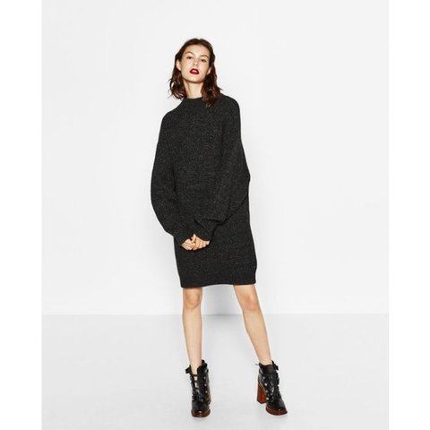 184482cd3eb Zara Oversized Knitted Dress Jumper High Neck With Slouch A Depop