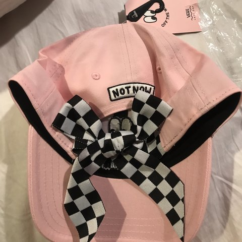 6d8428b5 @puppincuppie. 4 months ago. Golden, United States. lazy oaf x vans cap /  hat with checkered ribbon tie in back