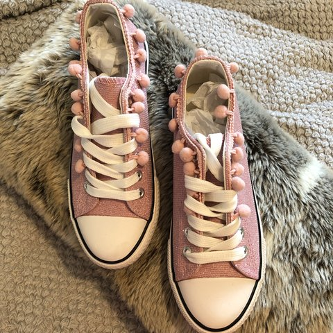 ebaa4fa1d78 Lovely pair of pale pink glitter Pom Pom shoes Size 3 are - Depop