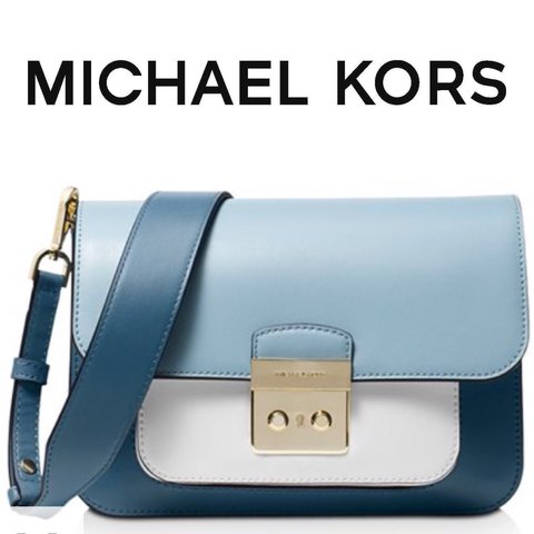 1adfe735dff6 Michael Kors Sloan Editor Large Color Block Shoulder Bag in - Depop