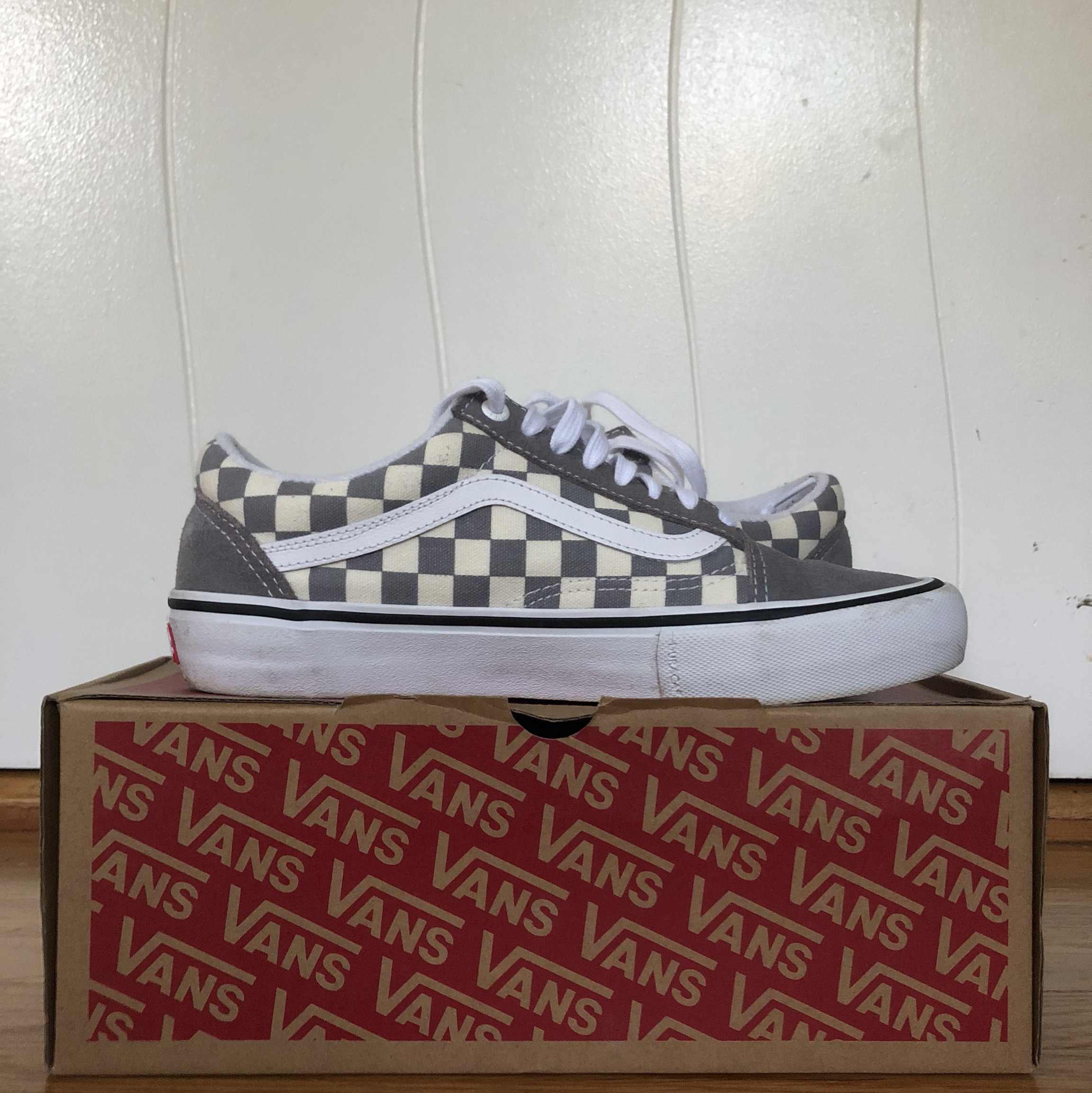 *gray and off white checkered old skool vans* *worn Depop