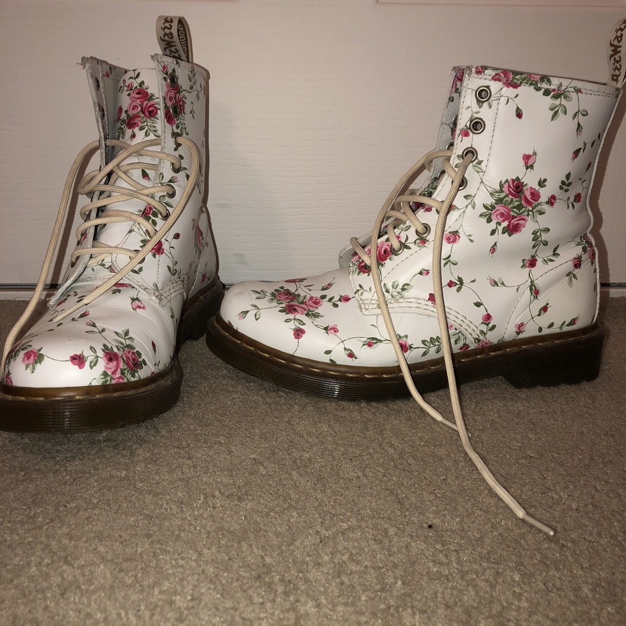 White floral dr martens - only worn a