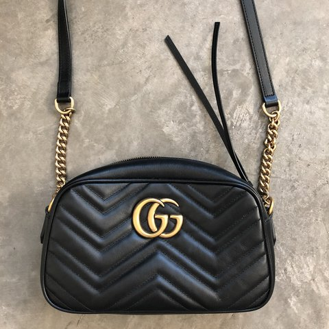4d23b45ff36b @newdarlings. 11 months ago. Phoenix, United States. Gucci GG Marmont  Camera Bag Small Originally $1250. Black matelassé ...