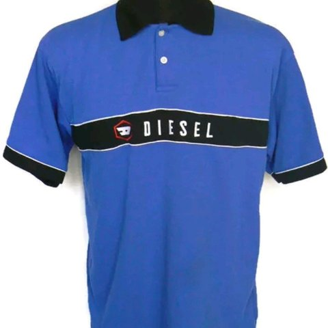 919edf92cc41 Diesel Mens Blue Cotton Polo Shirt Standard Size Pit to Pit - Depop