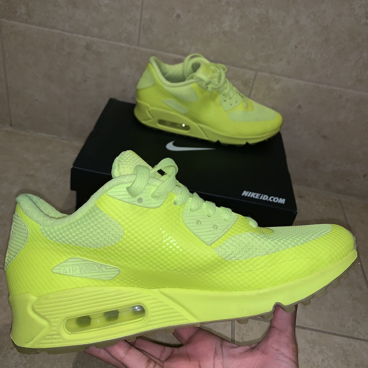 Neon yellow Nike Air Max ID's size 5.5. Worn a few Depop
