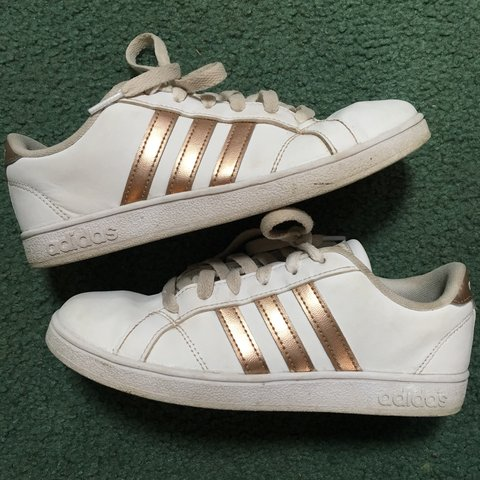 ddd90ce9ed7c Classic white Adidas 3 stripe sneakers with bronze rose gold - Depop