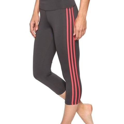 727ba75306a7ed Adidas pink and grey striped 3/4 length leggings. Size small - Depop