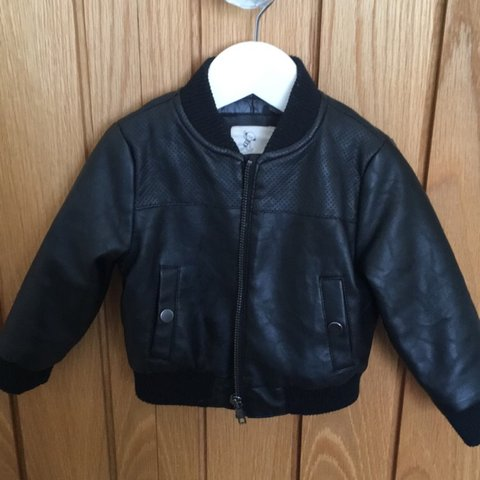 7a4dfec68 River island mini infant boy black leather bomber jacket age - Depop