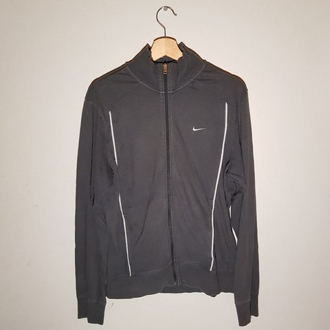 2eabd51a9db Dark grey Nike track jacket with white trims down the and - Depop