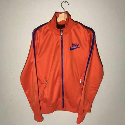 1fac3b684142 Bright Orange Nike zip-up track jacket with Navy details - Depop