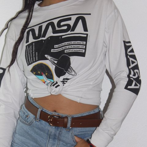 726779b17 @reaganbrianne. last year. Burbank, United States. forever 21 NASA long  sleeve shirt. has been cut on bottom