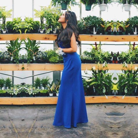 65da11f4d89 Deep Blue Calvin Klein Floor Length Dress💙 Blue Calvin in - Depop