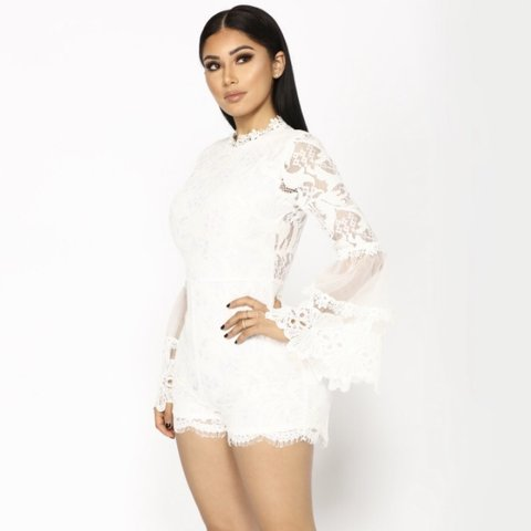 d0da966c83e Fashion Nova White Lace Romper 🕊 Wrong size and never Tag - Depop