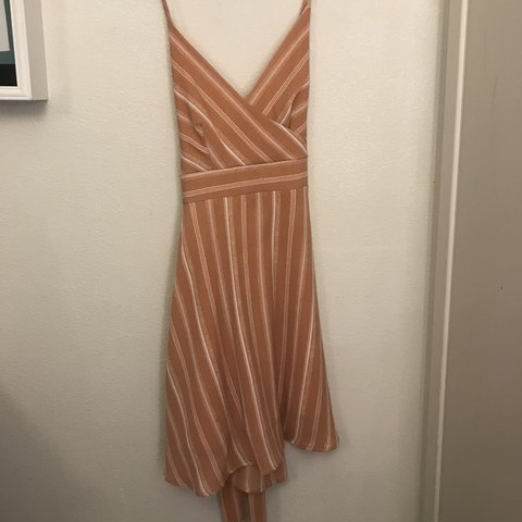 dd49e883 Cute Peach striped dress with straps to sinch around the for - Depop