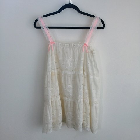 a27dcaf0ec 70s   80s Sheer lace babydoll dress with pink bow details. a - Depop