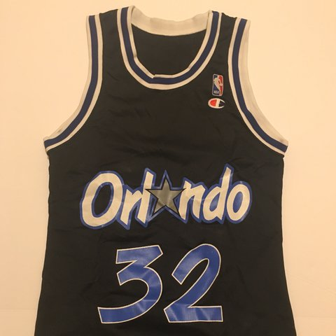 """d862991ffcf @firefitsforthelow. 10 months ago. Temple City, United States. Orlando  Magic Shaquille """"Shaq"""" O'Neal Champion Throwback Jersey. Size: 36 / Small"""