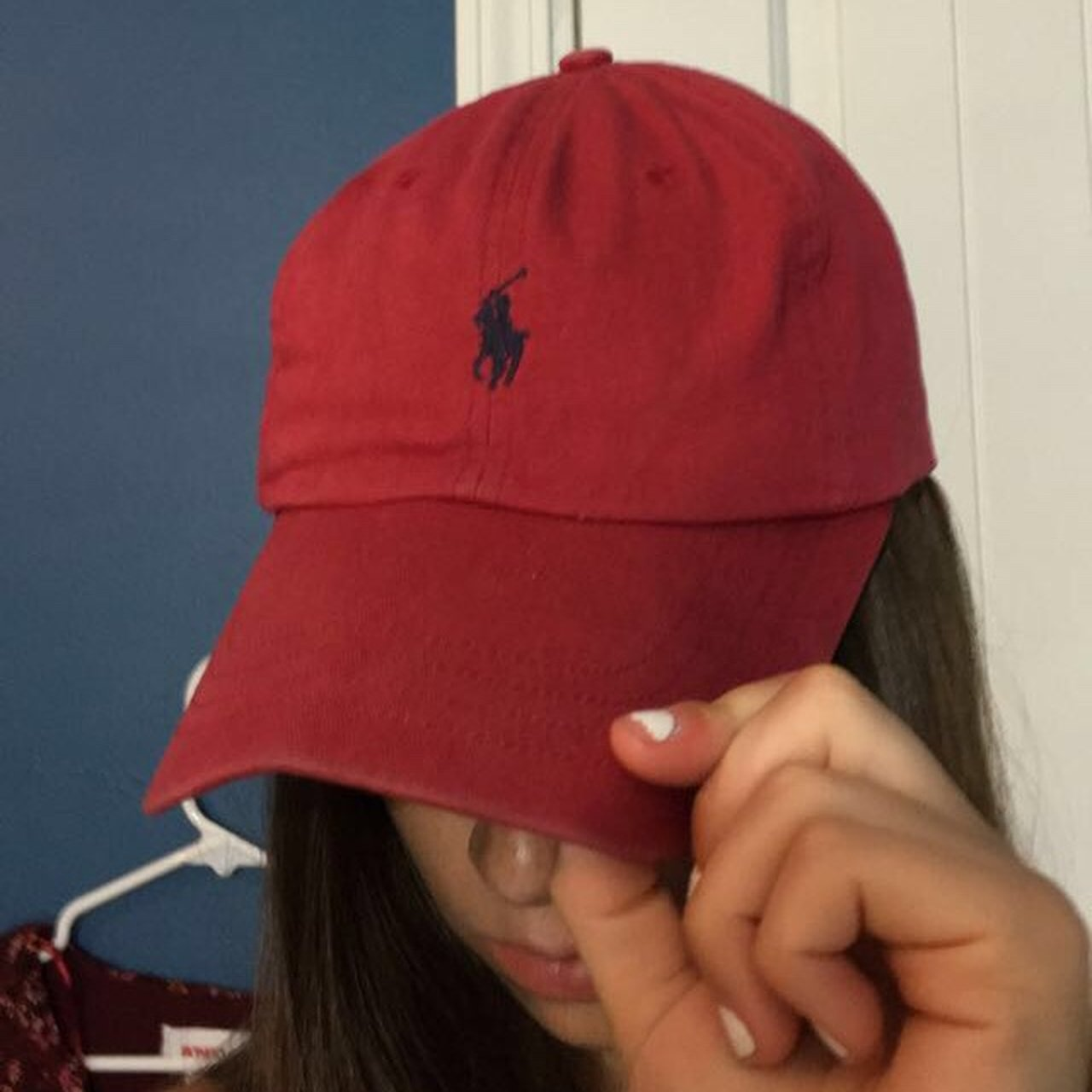 6e562178c2e Amazing red Polo Ralph Lauren baseball cap with navy logo a - Depop