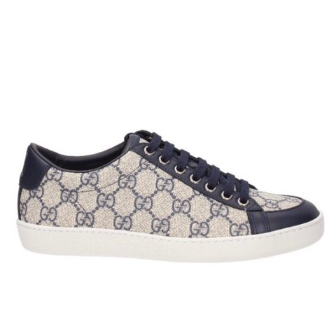 Navy Gucci Print Women s Trainers Size 37 Although Come Up - Depop 5268ebc13