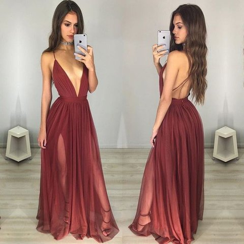 134ca0b15f2  jforles. 2 months ago. United States. Burgundy maroon deep v neck prom  dress -backless w  adjustable straps