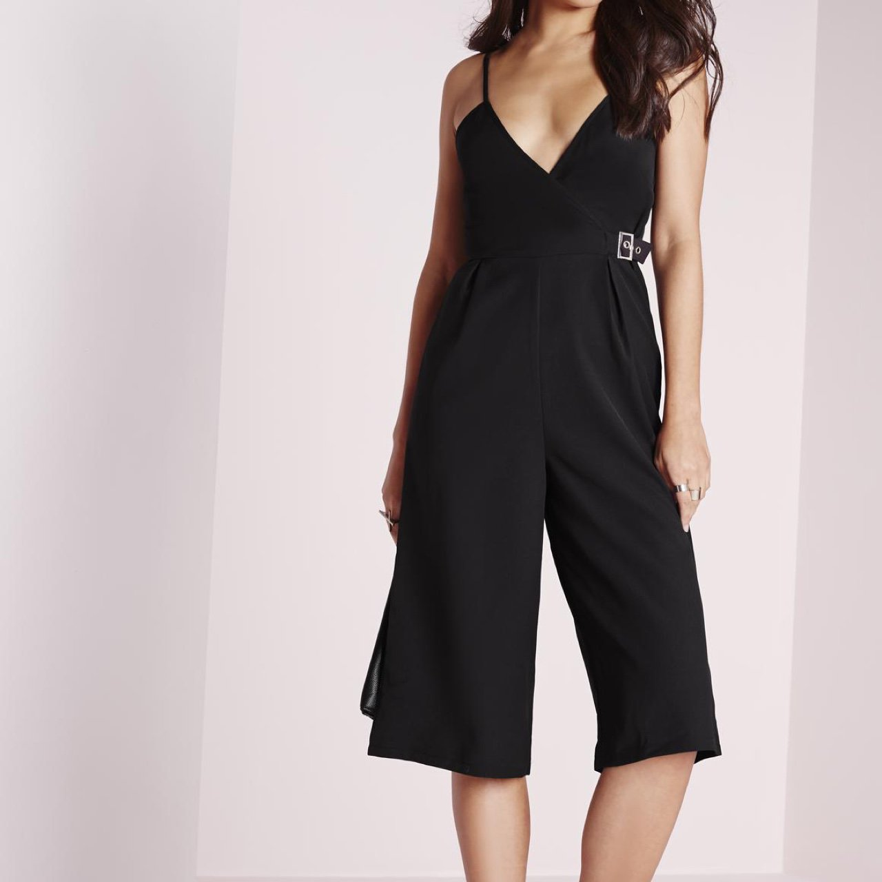 8aff6cd15564 MISSGUIDED Size 10 black strappy culotte jumpsuit with Never - Depop