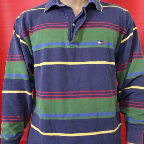 9899c667 @vintagefinder69. 8 months ago. Edinburg, United States. Tommy Hilfiger  Striped Polo Shirt Long Sleeve Vintage 90s Blue Green Medium ...