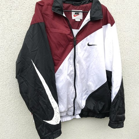 32c052f55 @vintagefinder69. 5 months ago. Edinburg, United States. Nike Vintage  Windbreaker Big Swoosh Logo Zip Up Black Maroon White ...