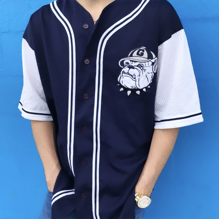 lowest price cc159 a888b Georgetown Hoyas 90s Vintage Baseball Jersey Shirt... - Depop