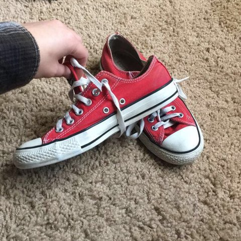 58de7e73300f bright red low top converse! size 5 in men s