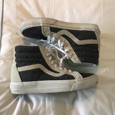 Grey and white vans high top sneakers. These are super comfy - Depop 2862f4d89