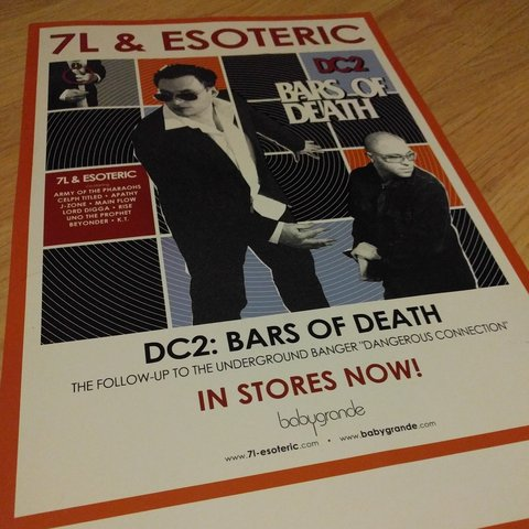 7L Esoteric DC2 Bars Of Death Poster From 2004 11x17