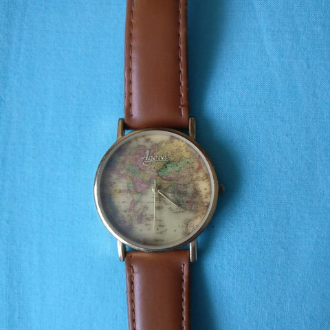 Agora World Map Watch Watch Face Great Condition Leather Depop