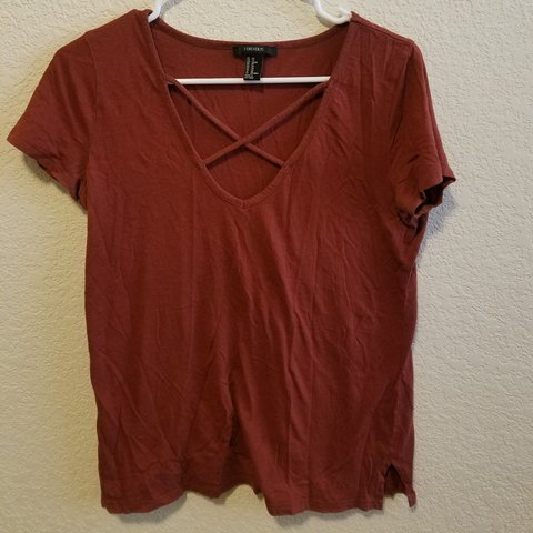 4ef66fb39441ff Burnt orange Forever 21 cris cross top. Gently used. Is an a - Depop
